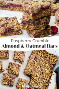 Raspberry Crumble Bars are so easy! This recipe uses fresh raspberries and store bought jam for the filling. These raspberry almond fruit squares are extremely versatile. Any combination of fruit and jam can be used to make this dessert, so use what is in season or mix combinations of your favorite fruit. Top it off with the almond and oatmeal crispy topping for a great snack or dessert. Raspberry Crumble Bars, Raspberry Filling, Classic French Onion Soup, Elegant Desserts, Oatmeal Bars, Easy Food To Make, Raspberries, Recipe Using, Raspberry