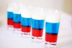 Australia Day Jello Shots - 3 oz Jell-O or other gelatin (any flavor) 1 cup boiling water 1/2 cup (4 ounces) vodka (or other distilled spirit) 1/2 cup cold water