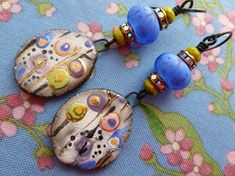 RESERVED FOR SANTAFEANNE, Into The Wild Blue Yonder, Boho Ceramic Earrings, Artisan Made Jewelry, JosephineBeads, taneres, Northernblooms