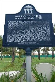 After the 1928 Okeechobee Hurricane, the bodies of hundreds of African Americans were taken to West Palm Beach and buried in an unmarked mass grave in the city's pauper cemetery. In 2000, the property was reacquired by the city, to memorialize the tragedy.