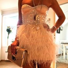 ASOS PETITE Exclusive Feather Corset Dress.