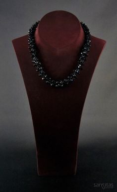 Azariel Black - A shimmering black necklace handcrafted from tapering briolette crystals.
