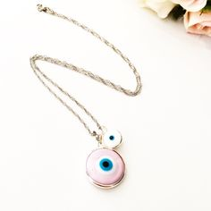 A personal favourite from my Etsy shop https://www.etsy.com/listing/477641032/evil-eye-choker-necklace-pink-evil-eye