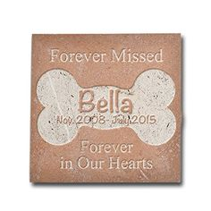Personalized Memorial Pet Headstone Customized  Forever Missed Forever In Our Hearts  6 x 6 Noce Honed  Filled * Want additional info? Click on the image. This is an Amazon Affiliate links.