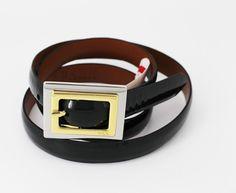 Lauren Ralph Lauren Women's Belt Dark Green Pearlized Patent Leather Size M #RalphLauren