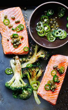 Roast Salmon and Broccoli with Chile-Caper Vinaigrette by bonappetit #Salmon #Broccoli #Chile #Caper #Healthy