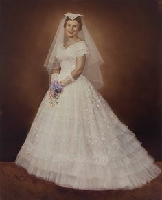 1950s Hand Tinted Print Of A Bride In Her Wedding Dress Photo By Strands Studio