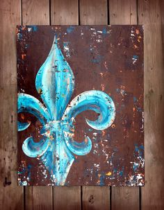 Love this fleur de lis in peacock teal & gold colors. It will add depth and drama to your space. It is a knife painting and sealed with a matte sealant. Price reduced from $295! ******* 24x30x1.5********* Acrylic on canvas. Actual painting may vary from picture as with all original art. Allow 4 -6weeks for completion.