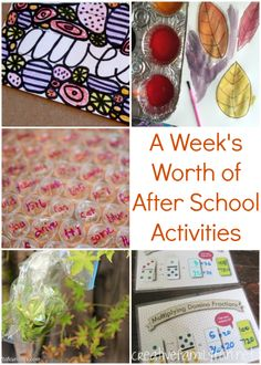 A week's worth of fun after school learning activities for your elementary-aged kids.