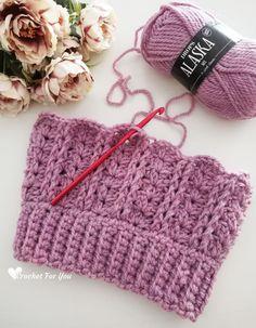 Crochet Yara Beanie Free Pattern - Crochet For You Easy Crochet Hat, Crochet Winter Hats, Crochet Baby Beanie, Crochet Beanie Pattern, Free Crochet, Beanie Knitting Patterns Free, Hat Patterns, Jewelry Patterns, Front Post Double Crochet
