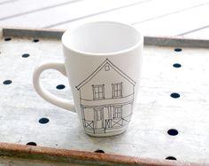 custom home coffee mug   hand drawn house par wandersketch sur Etsy, $24.00
