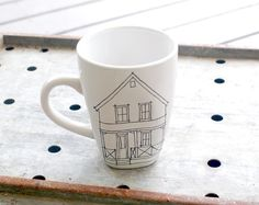 The perfect gift for new homeowners: a mug with a drawing of their house on it. #EtsyCustom