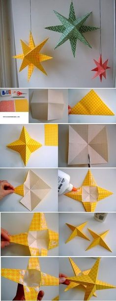 Easy DIY Pretty Star Ornaments...All That Scrapbook Paper I Won't Use   DIY and crafts