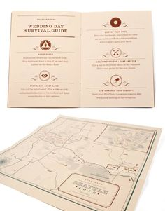 Mike and Rachel made fantastic invites complete with know tying guide, advice on being prepared, maps, and a wedding survival guide.