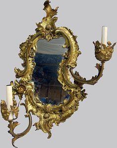 Mirror Sconce Rococo Gold Gilt Bronze