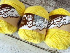 NEW Lot 3 Lily Sugar Cream #Yarn Sunshine Yellow Cotton Knit Crochet Crafts