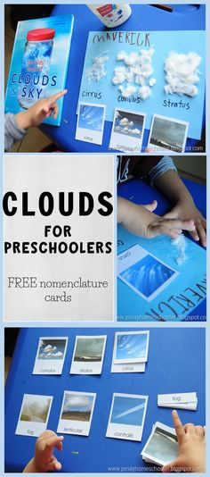 Kids Crafts Science Stems - Clouds for Preschoolers (FREE nomenclature cards). Weather Activities Preschool, Preschool Learning, Weather Science, Weather Unit, Weather For Kids, Weather Experiments, Science Experiments, Teaching Weather, Free Preschool