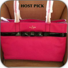 """💞KATE SPADE LEATHER TOTE 💞HP @baby_k 😈 EX BF GIFT MUST GO😈 💞3X HP Previously listed and deleted as I thought I might use it. Never did but removed tags. 2 large compartments with inner zippered compartment. Side zipper pocket and 2 slots for phone or cards. No longer available online or on any website I could find. Black patent leather bow. 💯AUTHENTIC! 11"""" high x 5"""" deep x 15"""" across. 💞HP by @lisadraper💞 @sunfloweria CitiChic @minimalistchic 💞 HP @luxlauren & @hopesparkles…"""