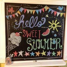Summer Chalkboard Art, Chalkboard Doodles, Chalkboard Art Quotes, Blackboard Art, Chalkboard Writing, Kitchen Chalkboard, Chalkboard Decor, Chalkboard Drawings, Chalkboard Lettering
