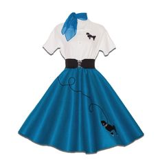 6 pc Adult 50's POODLE SKIRT Outfit Costume - Teal