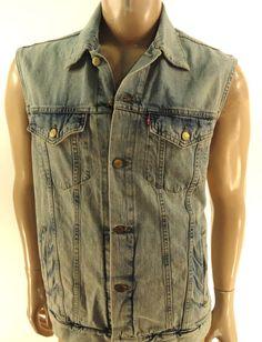 LEVI'S NEW MENS DENIM $78 BLUE TRUCKER JEAN VEST SLIM FIT JACKET sz XL #Levis #Vest