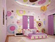 Girl bedroom ideas in bubble mural