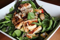 Bacon Rubbed Grilled Chicken Salad: fresh tomatos, sliced red onion ...