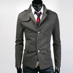 Sophisticated Stereo Slimming Black and Gray Cotton Blazer For Men