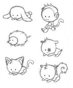 Kawaii animal drawings, pencil drawings, cute animals, chibis