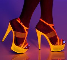 "6"" Platform Strappy Sandal with Neon Vinyl Panel Inserts * GLOW-111"
