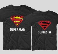 """Tricouri cu mesaje pentru cupluri precum acesta """"Superman"""" si """"Supergirl"""" sunt perfecte pentru a le arata tuturor cine sunt de fapt supereroii in viata de zi cu zi.  Surprinde-ti iubitul sau iubita si ofera-i cadou unul din aceste doua tricouri cu mesaje haioase pentru cupluri! Supergirl, Superman, Sports, Fashion, Hs Sports, Moda, Fashion Styles, Sport, Fashion Illustrations"""