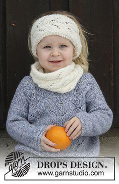 Eirlys / DROPS Children 30-19 - El conjunto se compone de: Banda de pelo y cuello de punto con patrón de calados para niño. Talla 2 - 12 años. El conjunto está realizado en DROPS Air.