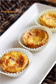 Portuguese Egg Tarts Recipe - pie crust, eggs, sugar, whipping cream, milk and vanilla #dessert