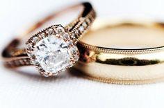Glamorous rose gold wedding ring #weddings #rosegold #goldwedding #weddingrings #diamondring