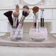 Makeup Brush Organizer Diy For Black Women - shabby chic inspired makeup brush holders Diy Makeup Vanity, Make Makeup, Vanity Decor, Makeup Brush Storage, Makeup Brush Holders, Perfume, Makeup Organization, Creative Crafts, Best Makeup Products