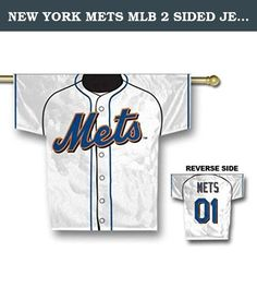 NEW YORK METS MLB 2 SIDED JERSEY BANNER (34 X 30) by BSI. Polyester 100%; Imported; 100% heavy duty 150 denier polyester; 2-Sided, graphics on both sides; Licensed MLB Product;.