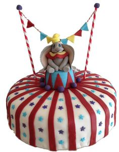 My twins 3rd birthday cake for a dumbo / circus themed party