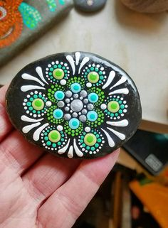 Colorful Hand Painted Stone by Miranda Pitrone COLORS: Spring Green. Silver. Teal. Turquoise Size: 2.75 x 2
