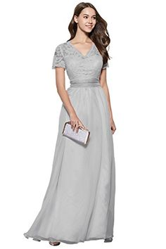 Elegant Shott Sleeves Vneck Long LaceChiffon Bridesmaid Prom Dress grey 8 *** Check this awesome product by going to the link at the image.(This is an Amazon affiliate link and I receive a commission for the sales)