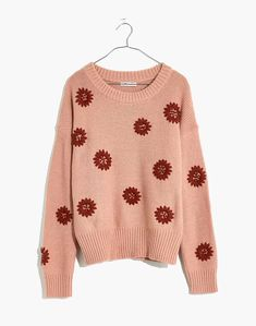 Flower Embroidered Pullover Sweater