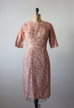 1960s dress  blush lace dress  pink and cocoa wiggle by Thrush, $104.00