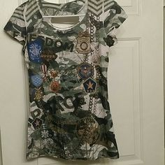 Girly army shirt Girl army shirt with back out Tops