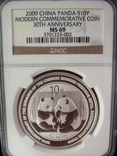2009 China Panda 30th Anniversary 10 Yuan NGC MS69 1 Ounce Silver Coin