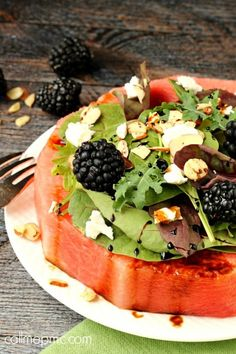 Feta Almond Watermelon Salad via Call Me PMc