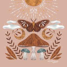 Butterfly Drawing, Moth Drawing, Posca Art, Hippie Art, Bohemian Art, Mushroom Art, Guache, Moon Art, Design Art