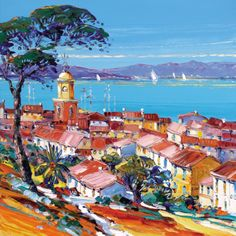 Painting of St. Tropez in the Provence-Alpes-Cote d'Azur Region, France.