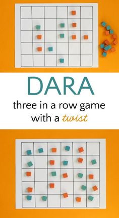 Dara is an abstract strategy game from Nigeria. Fun twist on the classic 3 in a row game.