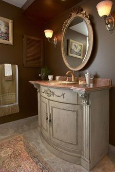 Antique Vanity In Powder Room Design Ideas, Pictures, Remodel and Decor
