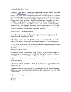 Printable Sample 30 Day Notice To Vacate Template Form   Real Estate ...