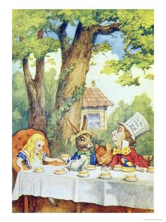 The Mad Hatter's Tea Party, Illustration from Alice in Wonderland by Lewis Carroll Giclee Print by John Tenniel at Art.co.uk